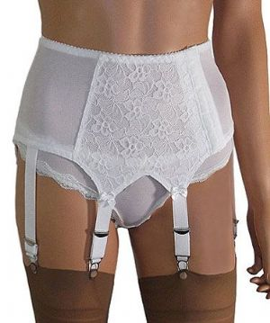 Side Opening 6 Strap Suspender Belt with Lace to Front & Sides